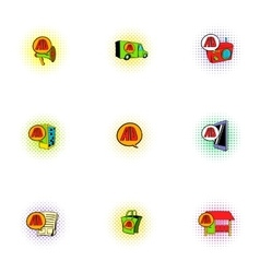 Advertising income icons set pop-art style vector image