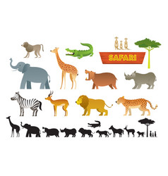 african safari animals set vector image
