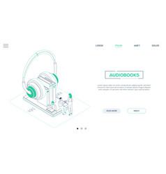 audiobooks - line design style isometric web vector image