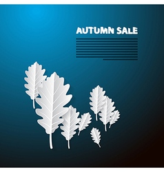 Autumn Sale Blue Background With White Oak Paper vector image