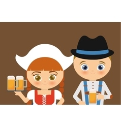 Beer Oktoberfest girl cartoon costume icon vector