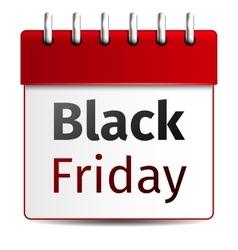 Black friday sale calendar on white background vector image