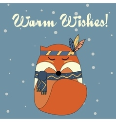 Boho fox in hand drawn style Winter seasonal vector image vector image