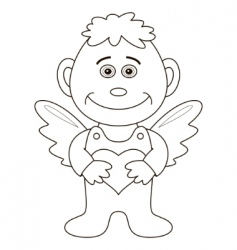 boy angel with heart contours vector image
