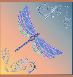 bright fantasy dragonfly on background vector image