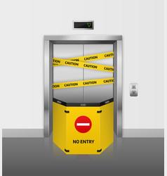 Broken elevator realistic broken lift closed for vector
