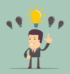Business person having an bright idea light bulb vector