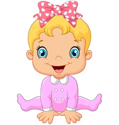 Cartoon happy baby girl vector
