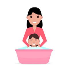 Cartoon mother bathes a baby vector