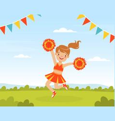 cheerleader girl dancing with pom poms fan girl vector image