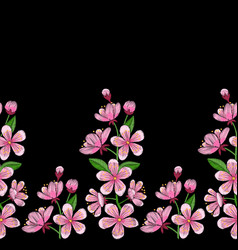 Cherry blossom embroidery seamless border vector