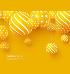 Christmas yellow balls with geometric pattern 3d vector