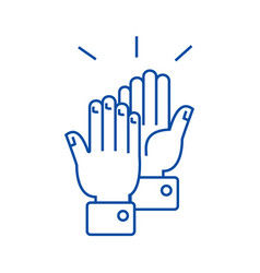 clapping hands line icon concept clapping hands vector image
