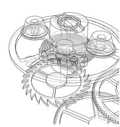 cogs and gears of clock vector image
