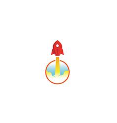 creative red rocket circle logo vector image