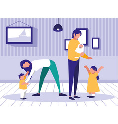 cute family in the house avatar character vector image