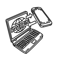 data sharing icon doodle hand drawn or outline vector image