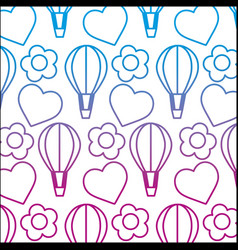 Degraded line air balloon with heart and flower vector