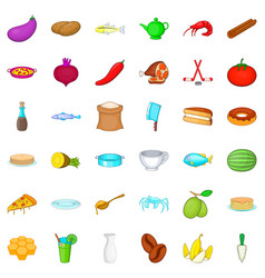 Delicatessen icons set cartoon style vector