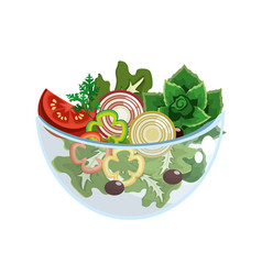 Delicious fresh organ salad in the bowl vector