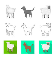 Design breeding and kitchen icon set of vector