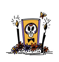 Dia de los muertos hand drawn style alatar vector