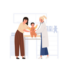 Doctor examining and listening child vector