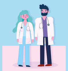 doctor male and female with stethoscope vector image