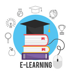 Elearning education books with graduation cap vector