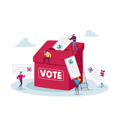 Election and social poll concept tiny voters male vector