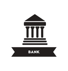 Flat icon in black and white style building bank vector