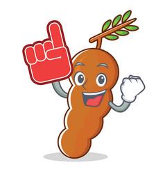Foam finger tamarind mascot cartoon style vector