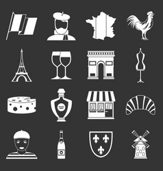France travel icons set grey vector