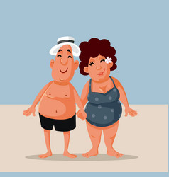 funny cartoon couple at beach in summer vector image