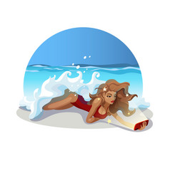 girl-on-beach-selfie vector image