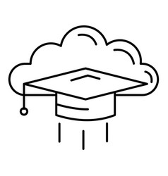graduated in cloud icon outline style vector image