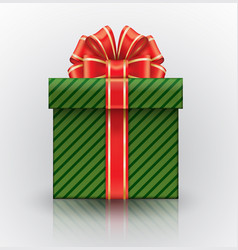 green gift box with a big red bow realistic vector image