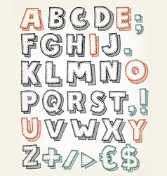 hand drawn abc elements vector image