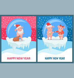 Happy new year piglet presenting gift to girl vector