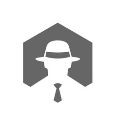 Hexagonal incognito icon hacker logo design vector