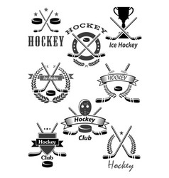 Hockey sport awards emblems or icons vector