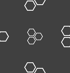 Honeycomb icon sign Seamless pattern on a gray vector image