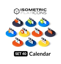 Isometric flat icons set 40 vector image