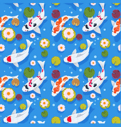 Koi fish seamless pattern japanese carp in china vector