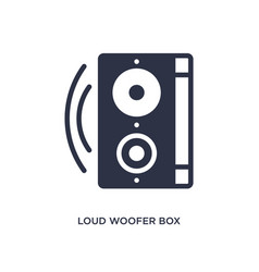 Loud woofer box icon on white background simple vector