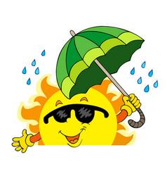 lurking sun with big umbrella vector image