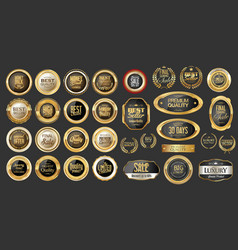 Luxury gold and silver design badges and labels vector
