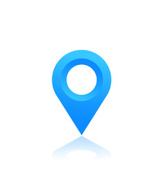 Map pointer location icon blue pin on white vector