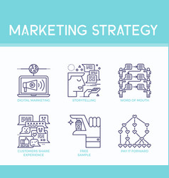 marketing strategy icons vector image
