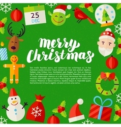Merry Christmas Lettering Poster vector image